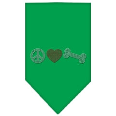 Mirage Pet Products Peace Love Bone Rhinestone Bandana Emerald Green Small