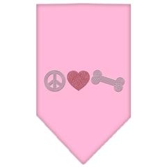 Mirage Pet Products Peace Love Bone Rhinestone Bandana Light Pink Large