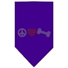 Mirage Pet Products Peace Love Bone Rhinestone Bandana Purple Small