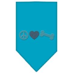 Mirage Pet Products Peace Love Bone Rhinestone Bandana Turquoise Large