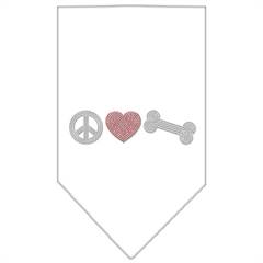 Mirage Pet Products Peace Love Bone Rhinestone Bandana White Small