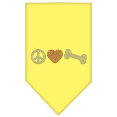 Mirage Pet Products Peace Love Bone Rhinestone Bandana Yellow Large