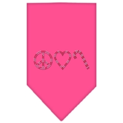 Mirage Pet Products Peace Love Candy Cane Rhinestone Bandana Bright Pink Small