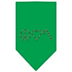 Mirage Pet Products Peace Love Candy Cane Rhinestone Bandana Emerald Green Small