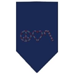 Mirage Pet Products Peace Love Candy Cane Rhinestone Bandana Navy Blue Small