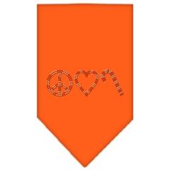 Mirage Pet Products Peace Love Candy Cane Rhinestone Bandana Orange Small