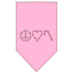 Mirage Pet Products Peace Love Candy Cane Rhinestone Bandana Light Pink Large