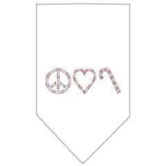 Mirage Pet Products Peace Love Candy Cane Rhinestone Bandana White Large