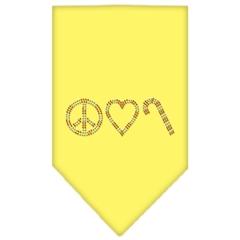 Mirage Pet Products Peace Love Candy Cane Rhinestone Bandana Yellow Small