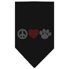 Mirage Pet Products Peace Love Paw Rhinestone Bandana Black Large