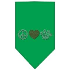 Mirage Pet Products Peace Love Paw Rhinestone Bandana Emerald Green Large