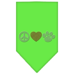 Mirage Pet Products Peace Love Paw Rhinestone Bandana Lime Green Small