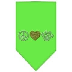 Mirage Pet Products Peace Love Paw Rhinestone Bandana Lime Green Large