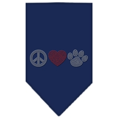 Mirage Pet Products Peace Love Paw Rhinestone Bandana Navy Blue large