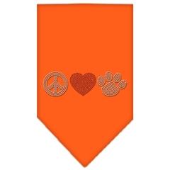 Mirage Pet Products Peace Love Paw Rhinestone Bandana Orange Small