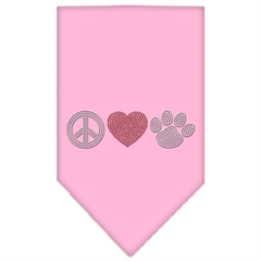 Mirage Pet Products Peace Love Paw Rhinestone Bandana Light Pink Small