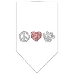 Mirage Pet Products Peace Love Paw Rhinestone Bandana White Small