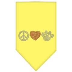 Mirage Pet Products Peace Love Paw Rhinestone Bandana Yellow Small