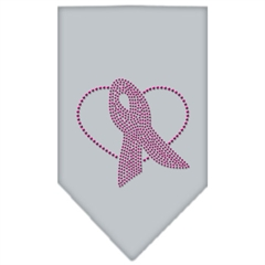 Mirage Pet Products Pink Ribbon Rhinestone Bandana Grey Small