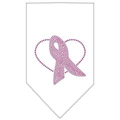Mirage Pet Products Pink Ribbon Rhinestone Bandana White Small