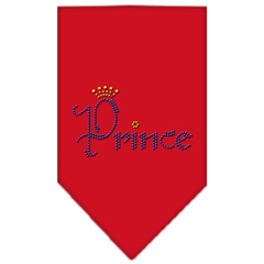 Mirage Pet Products Prince Rhinestone Bandana Red Small