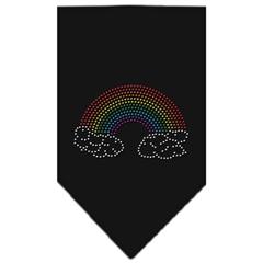 Mirage Pet Products Rainbow Rhinestone Bandana Black Large