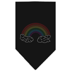 Mirage Pet Products Rainbow Rhinestone Bandana Black Small