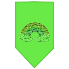 Mirage Pet Products Rainbow Rhinestone Bandana Lime Green Large