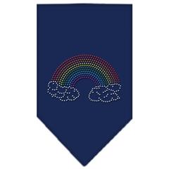 Mirage Pet Products Rainbow Rhinestone Bandana Navy Blue large