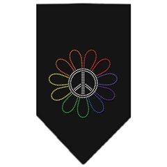 Mirage Pet Products Rainbow Peace Flower Rhinestone Bandana Black Large