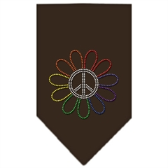 Mirage Pet Products Rainbow Peace Flower Rhinestone Bandana Cocoa Small
