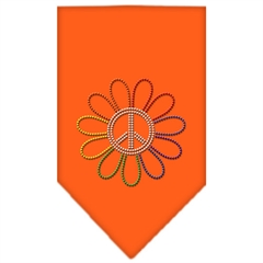 Mirage Pet Products Rainbow Peace Flower Rhinestone Bandana Orange Small