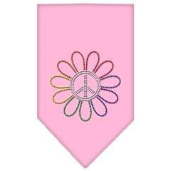 Mirage Pet Products Rainbow Peace Flower Rhinestone Bandana Light Pink Small