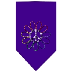 Mirage Pet Products Rainbow Peace Flower Rhinestone Bandana Purple Large