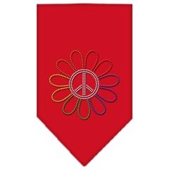Mirage Pet Products Rainbow Peace Flower Rhinestone Bandana Red Large