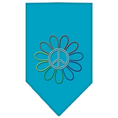 Mirage Pet Products Rainbow Peace Flower Rhinestone Bandana Turquoise Small