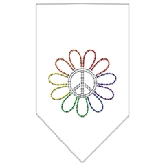Mirage Pet Products Rainbow Peace Flower Rhinestone Bandana White Large