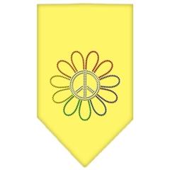 Mirage Pet Products Rainbow Peace Flower Rhinestone Bandana Yellow Large