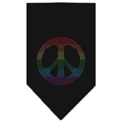 Mirage Pet Products Rainbow Peace Sign Rhinestone Bandana Black Large