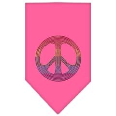 Mirage Pet Products Rainbow Peace Sign Rhinestone Bandana Bright Pink Small