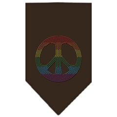 Mirage Pet Products Rainbow Peace Sign Rhinestone Bandana Cocoa Small
