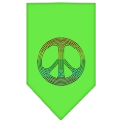 Mirage Pet Products Rainbow Peace Sign Rhinestone Bandana Lime Green Small