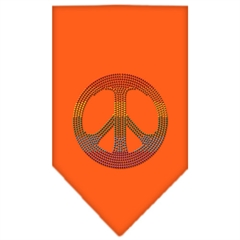 Mirage Pet Products Rainbow Peace Sign Rhinestone Bandana Orange Small