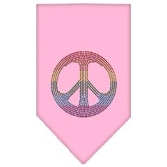 Mirage Pet Products Rainbow Peace Sign Rhinestone Bandana Light Pink Small