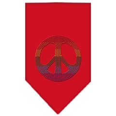 Mirage Pet Products Rainbow Peace Sign Rhinestone Bandana Red Large