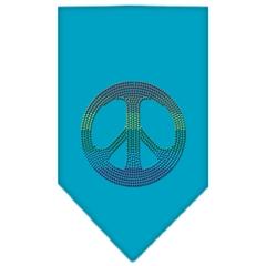 Mirage Pet Products Rainbow Peace Sign Rhinestone Bandana Turquoise Small