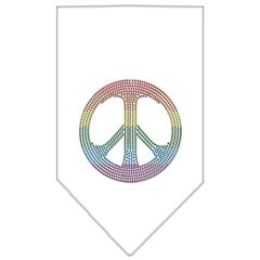Mirage Pet Products Rainbow Peace Sign Rhinestone Bandana White Small