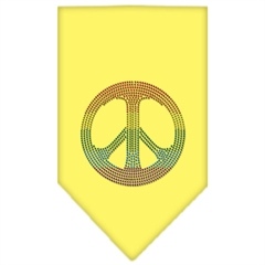 Mirage Pet Products Rainbow Peace Sign Rhinestone Bandana Yellow Small