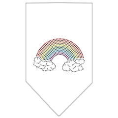 Mirage Pet Products Rainbow Rhinestone Bandana White Large