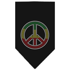 Mirage Pet Products Rasta Peace Rhinestone Bandana Black Small